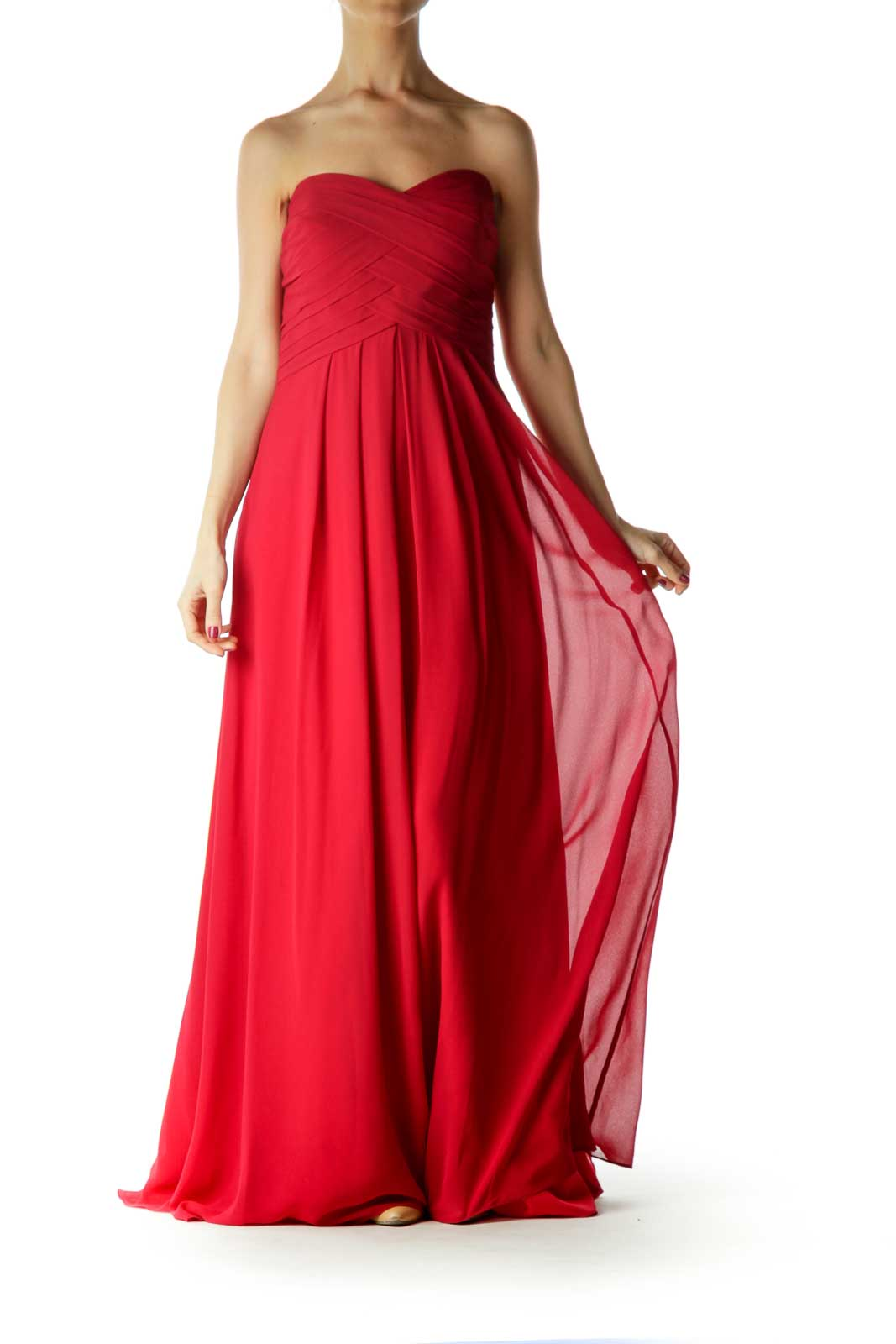 Red Sweetheart Neckline Evening Dress Front
