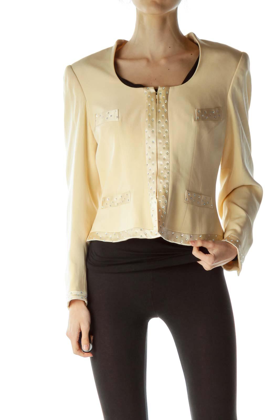 Beige Embellished Round Neck Blazer Front