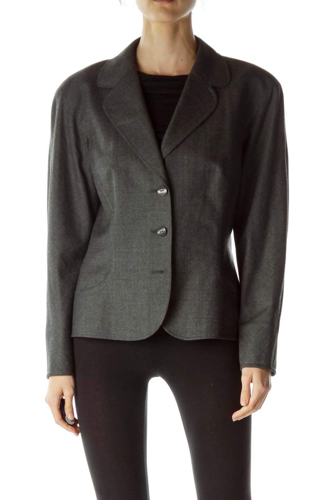 Gray Buttoned Blazer Front