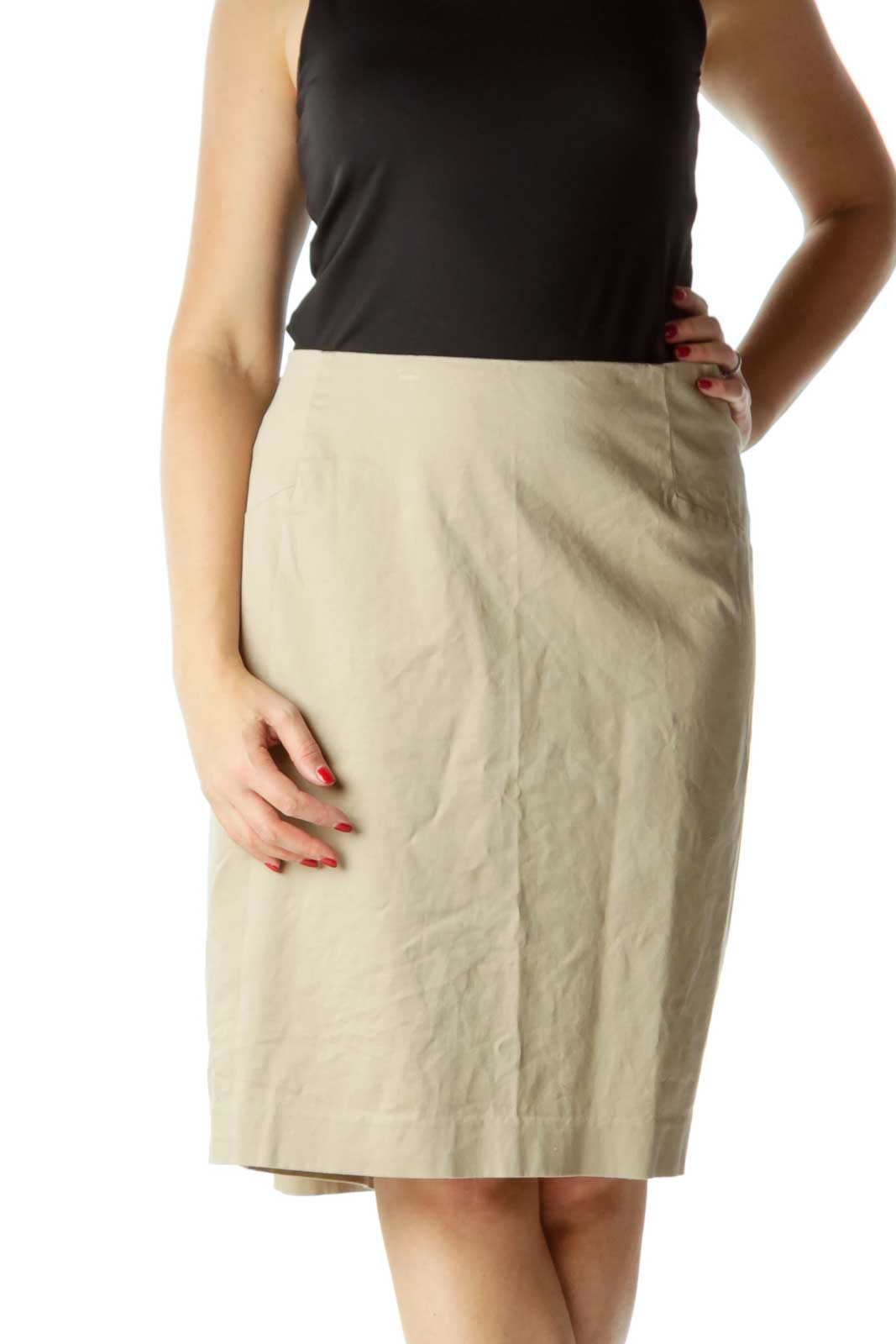 Beige Pencil Skirt Front