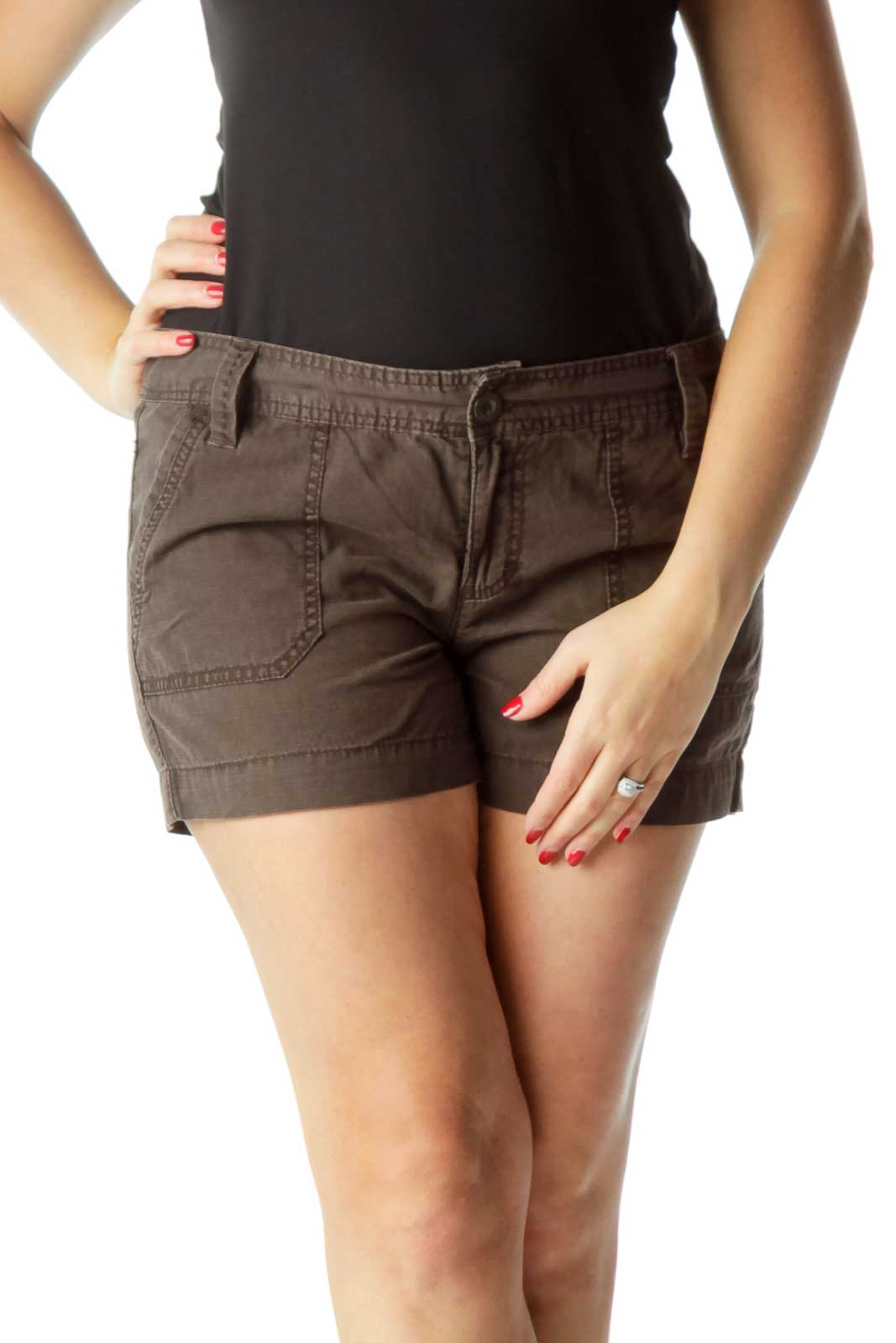 Brown Pocketed Shorts Front