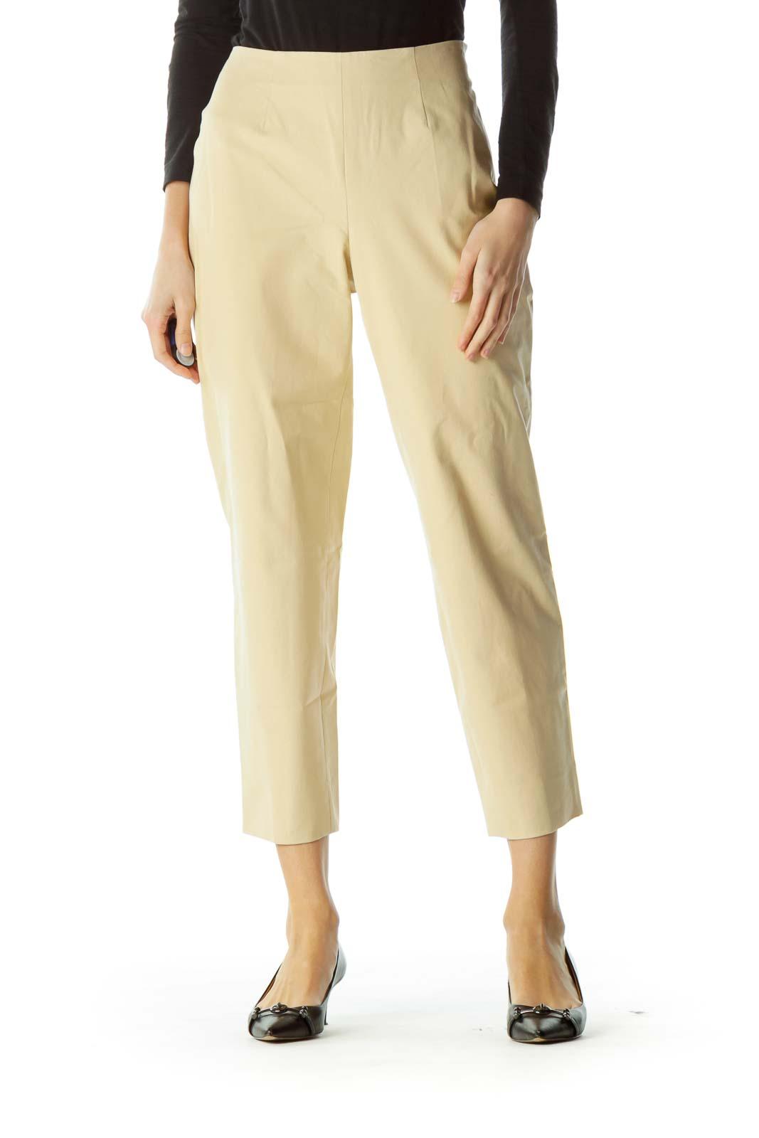Beige Cropped Designer Pants Front