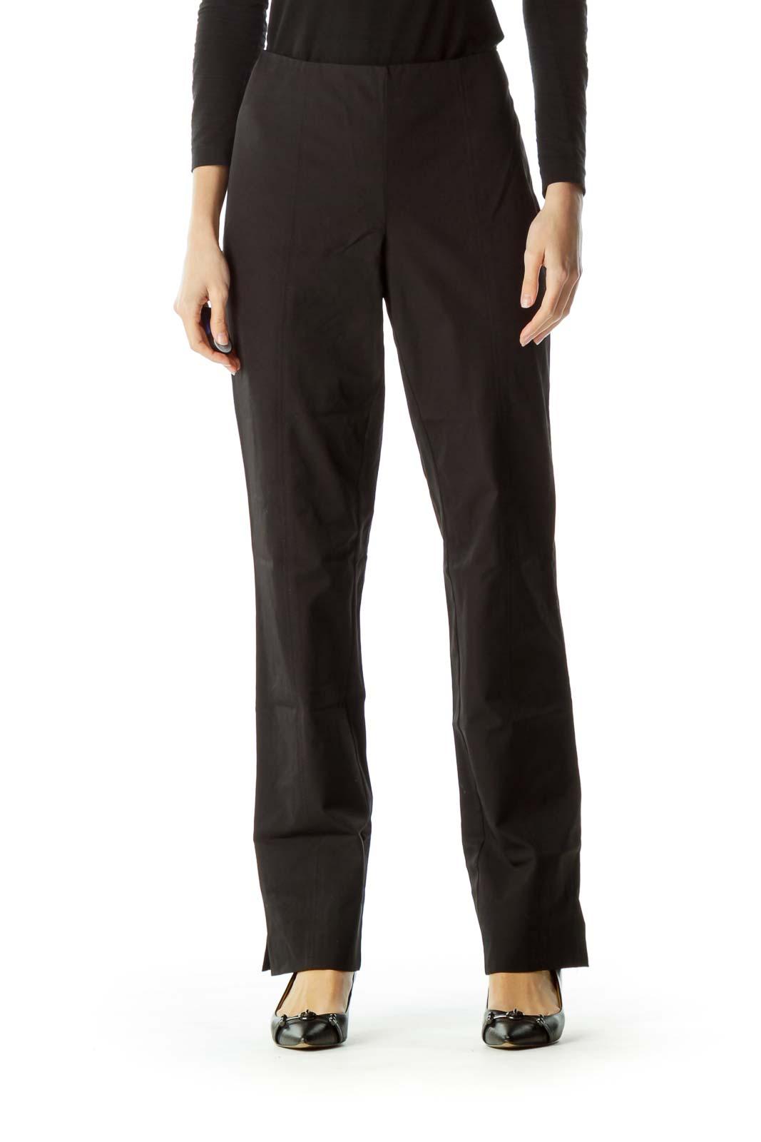 Black Stitch Detail Straight Leg Pants Front