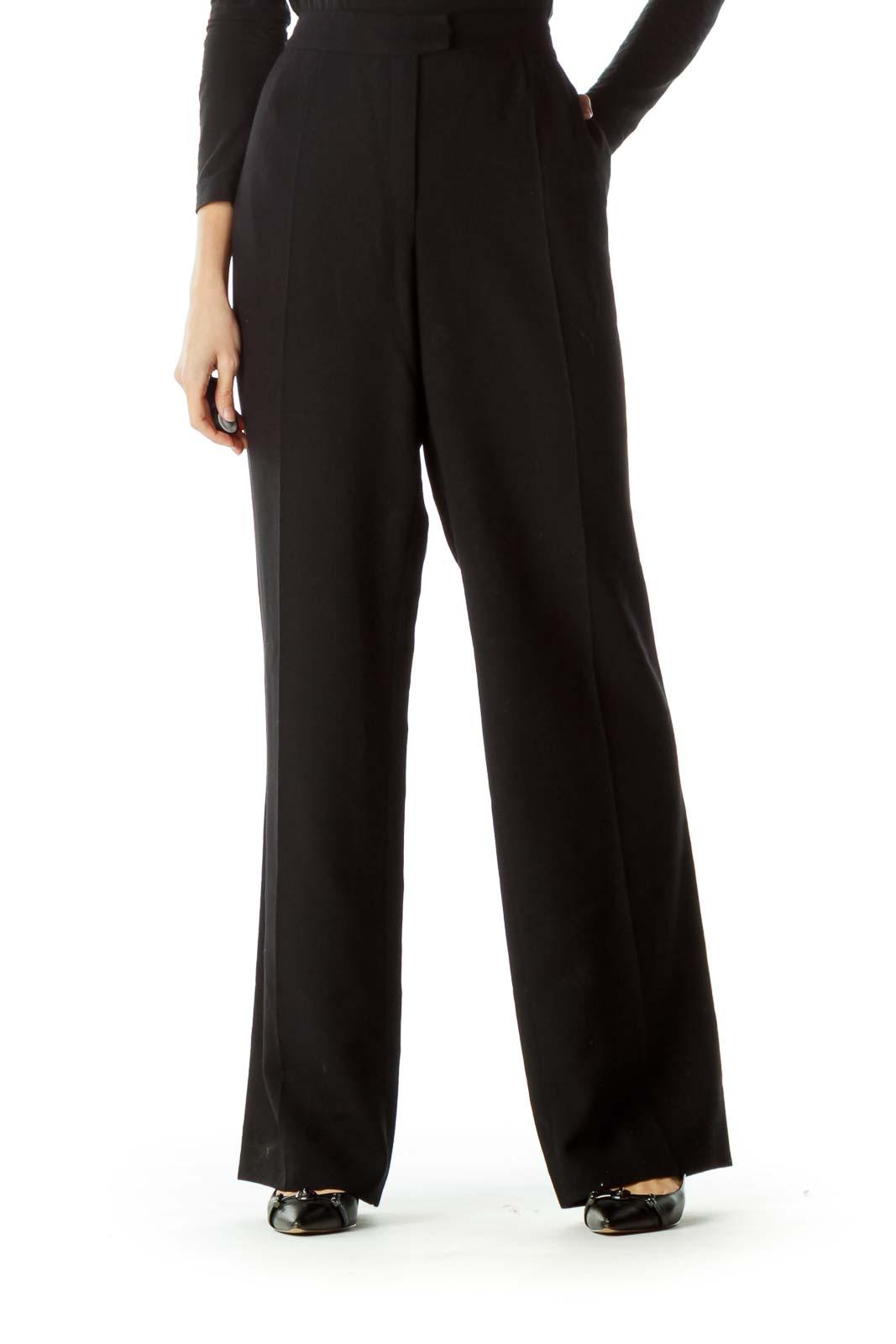 Black 100% Virgin Wool Dress Pants Front