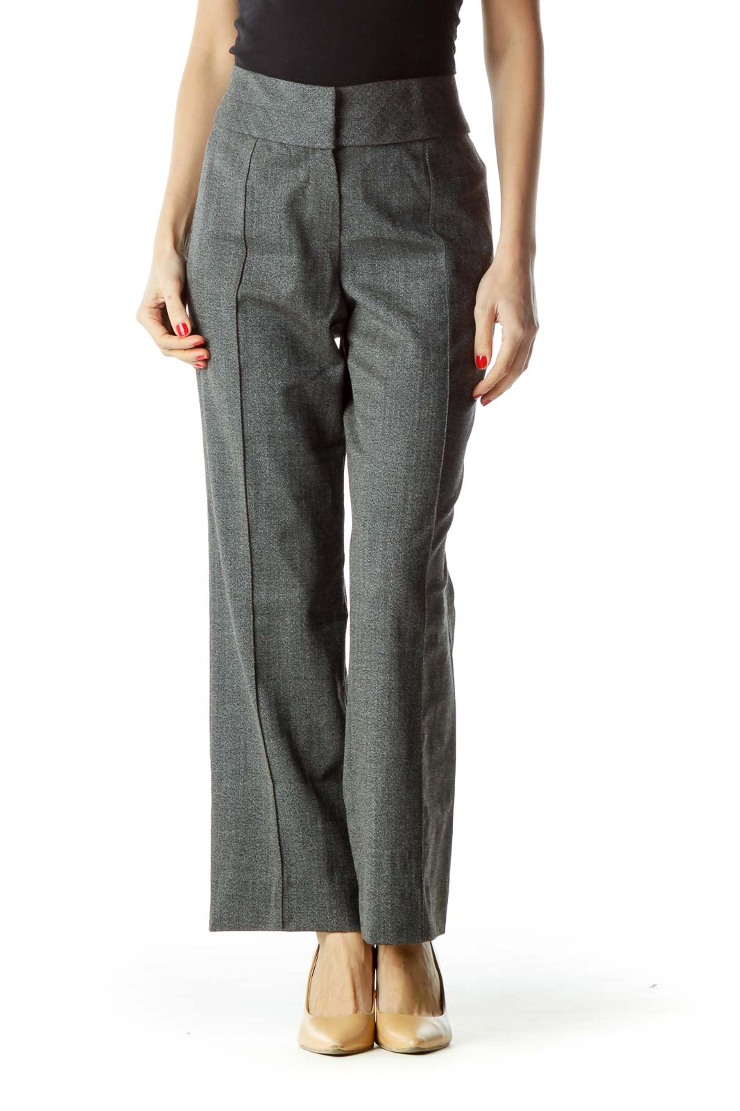 Black White Knit Straight Leg Dress Pants Front
