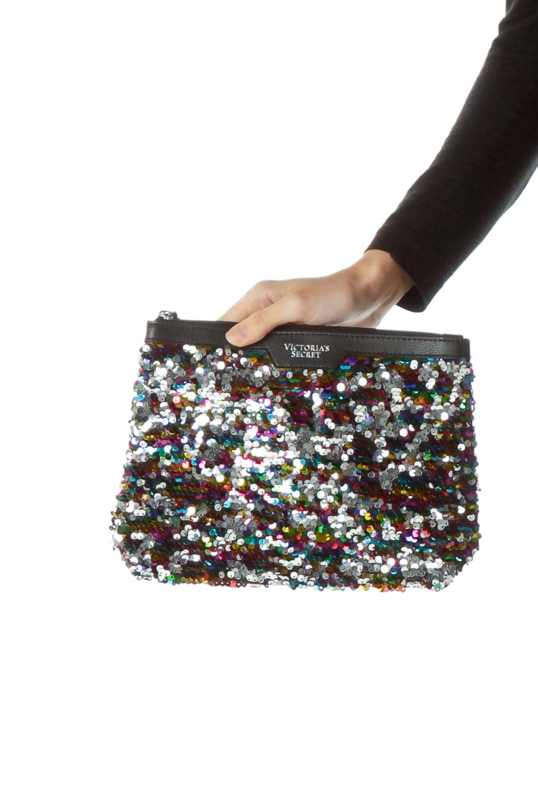 Multicolored Sequined Clutch with Tassle Front