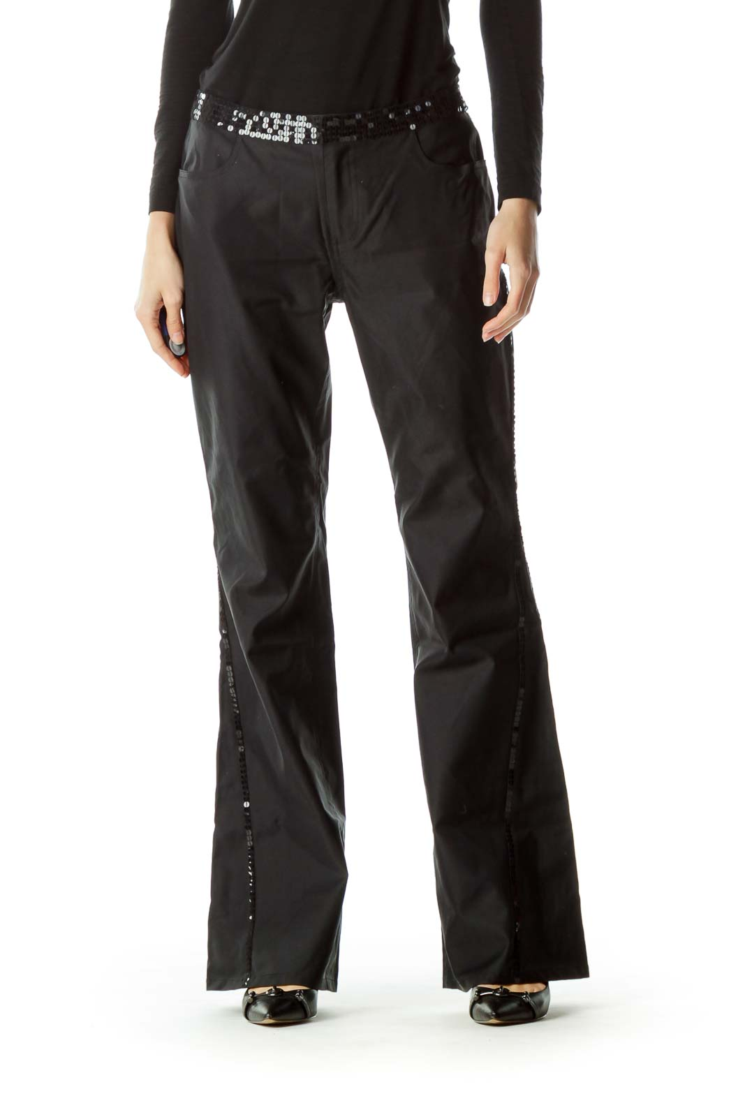 Black Sequin Detail Wide Leg Pants Front