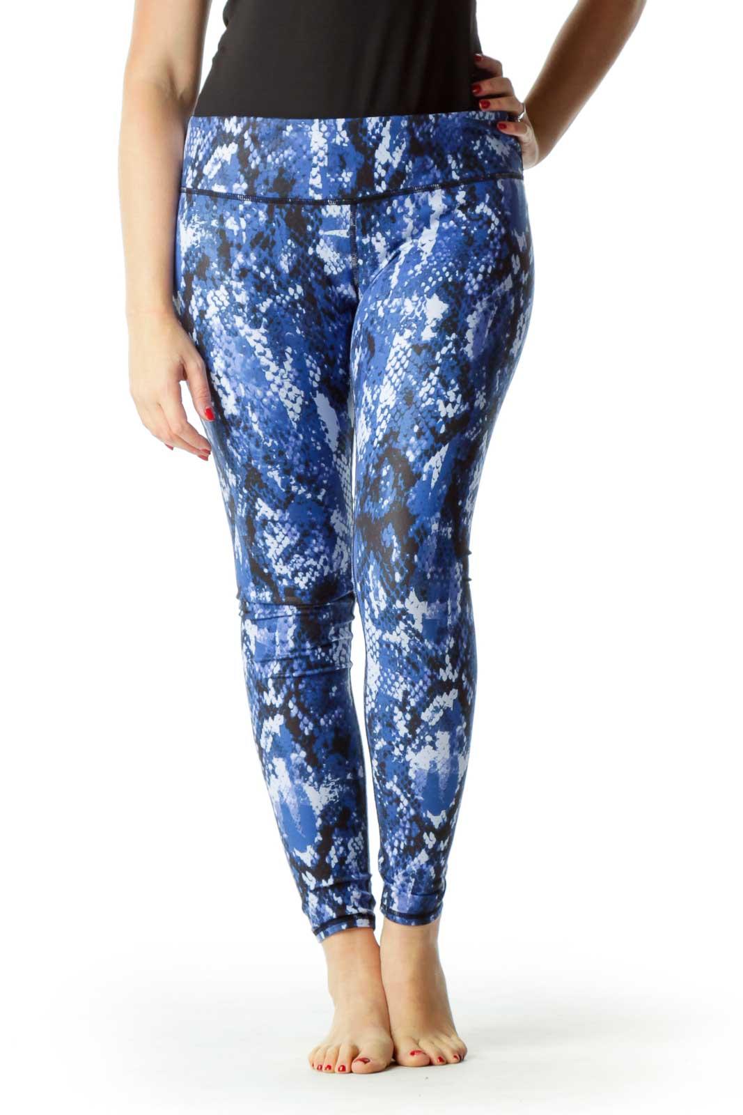 Blue Black Snake Skin Print Yoga Pants Front