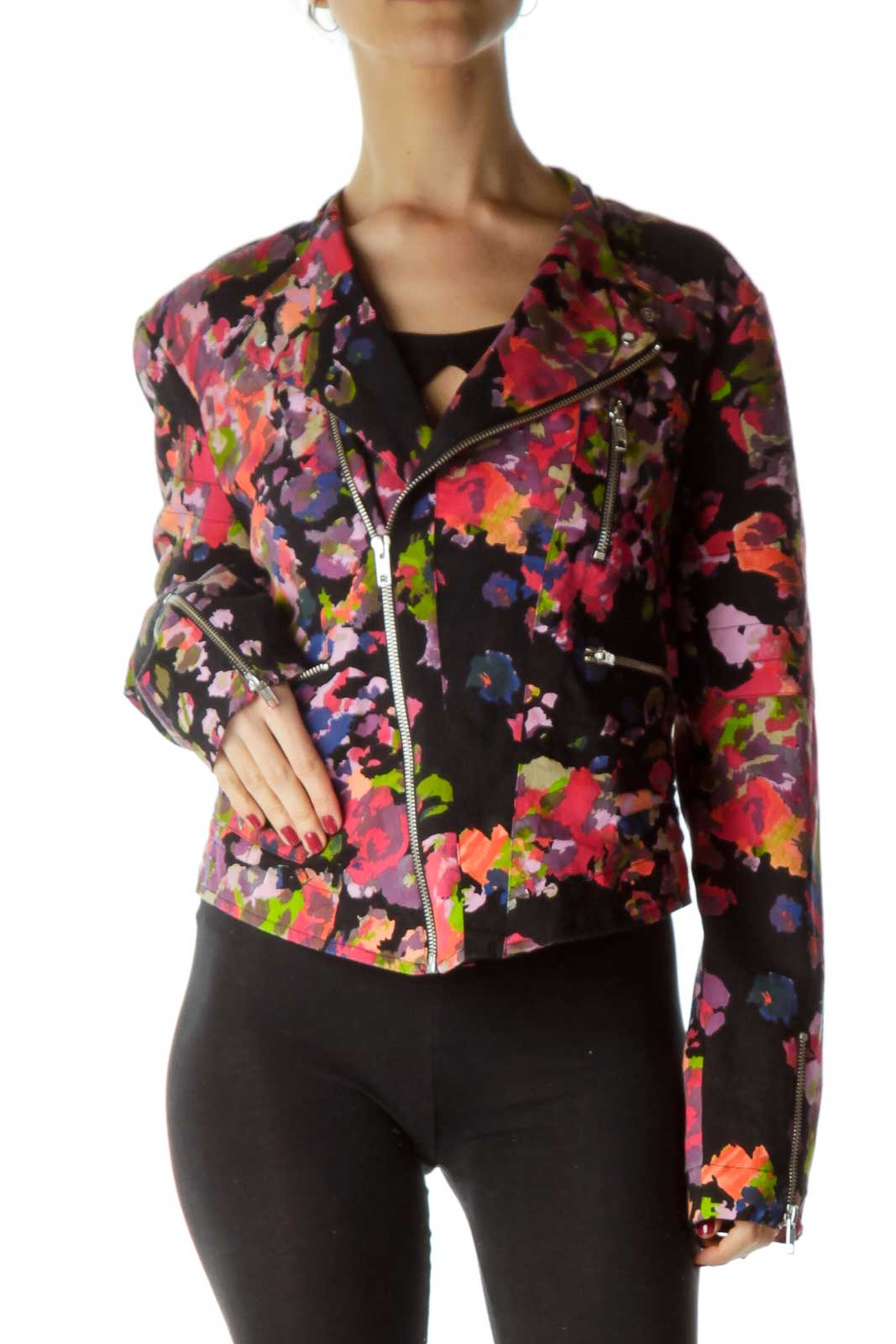 Multicolor Paint Print Bomber Jacket Front