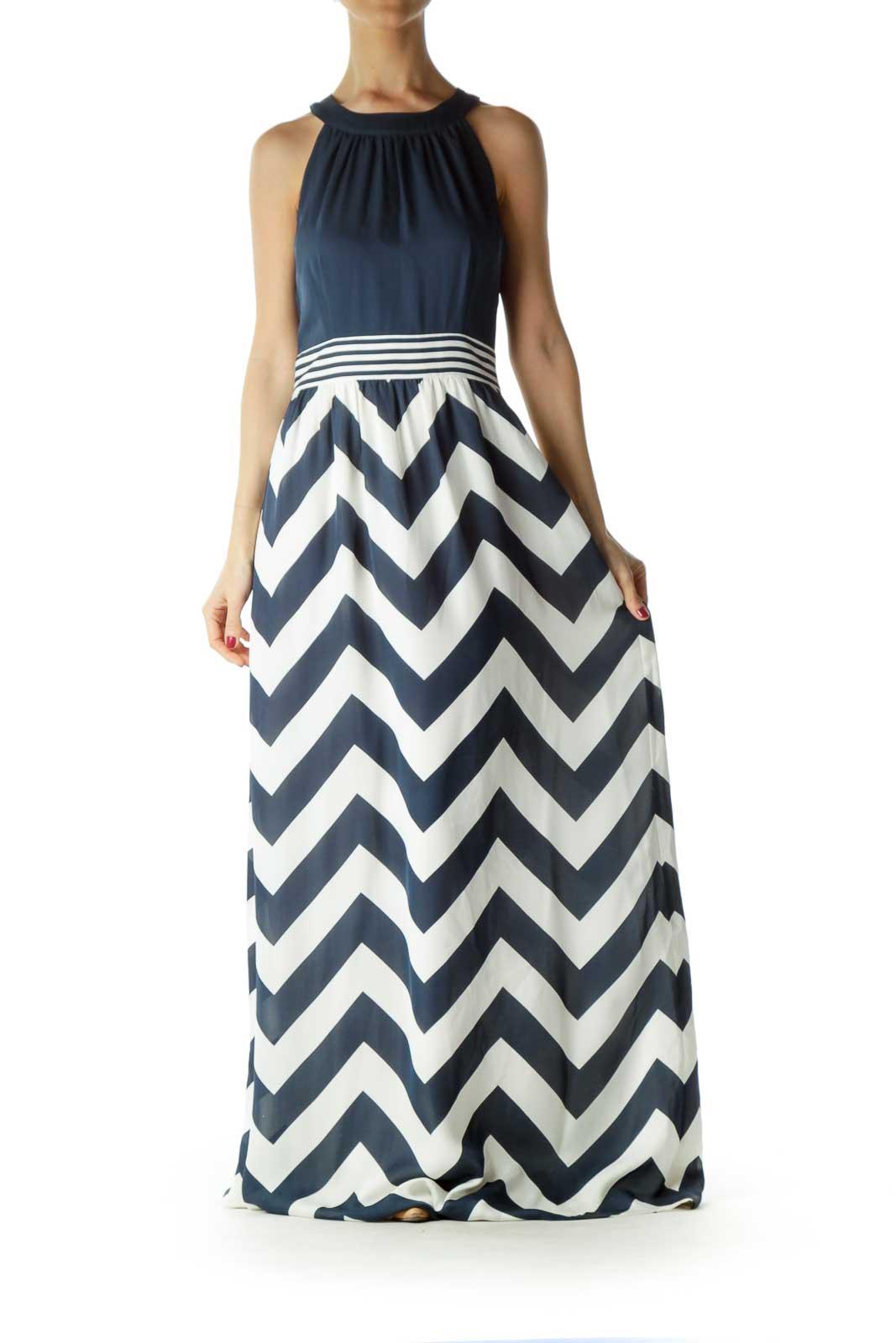 Navy Cream Chevron Print Maxi Dress Front