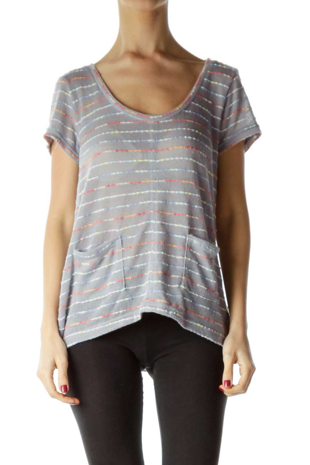 Gray Round Neck Short Sleeve Striped Top Front