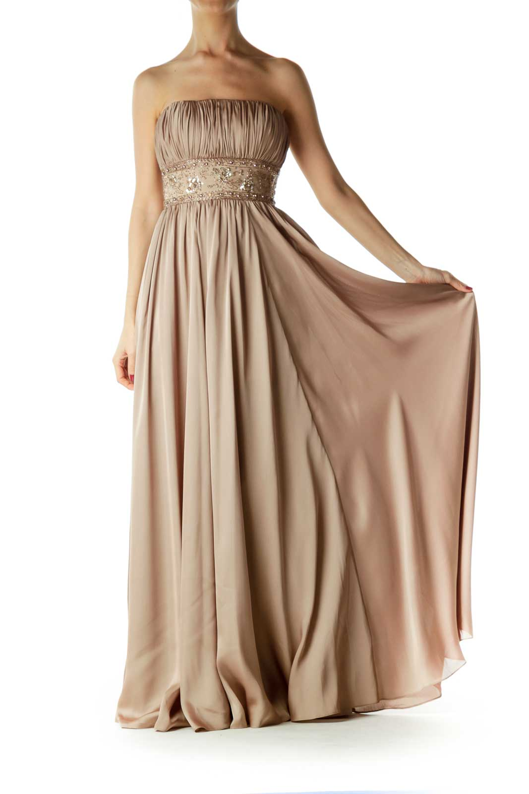 Gold Beaded Strapless Evening Dress   Front