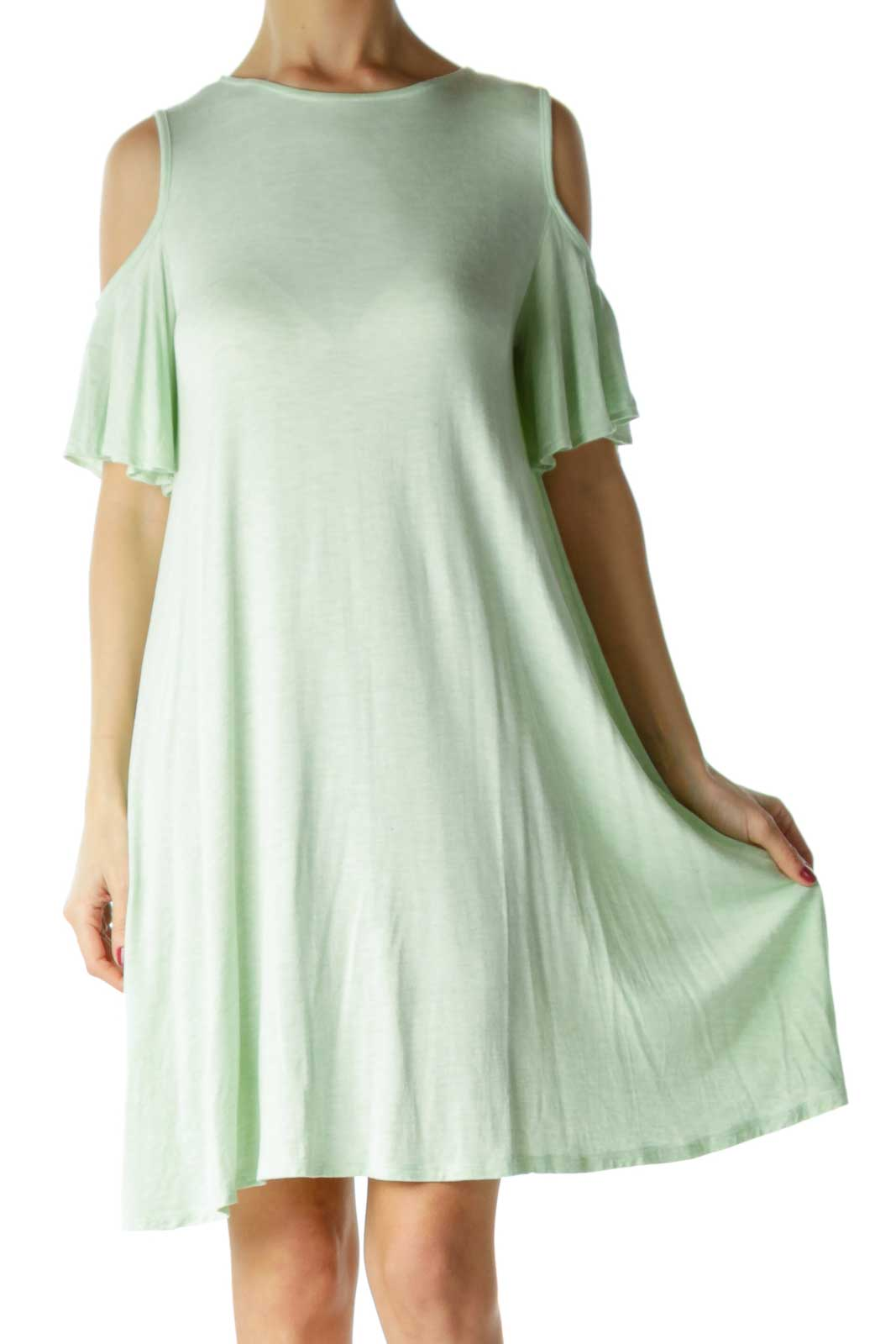 Green Cold Shoulder Tent Dress Front