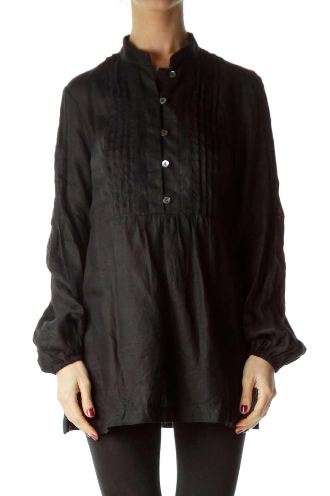Black Linen Sequined Shirt Front