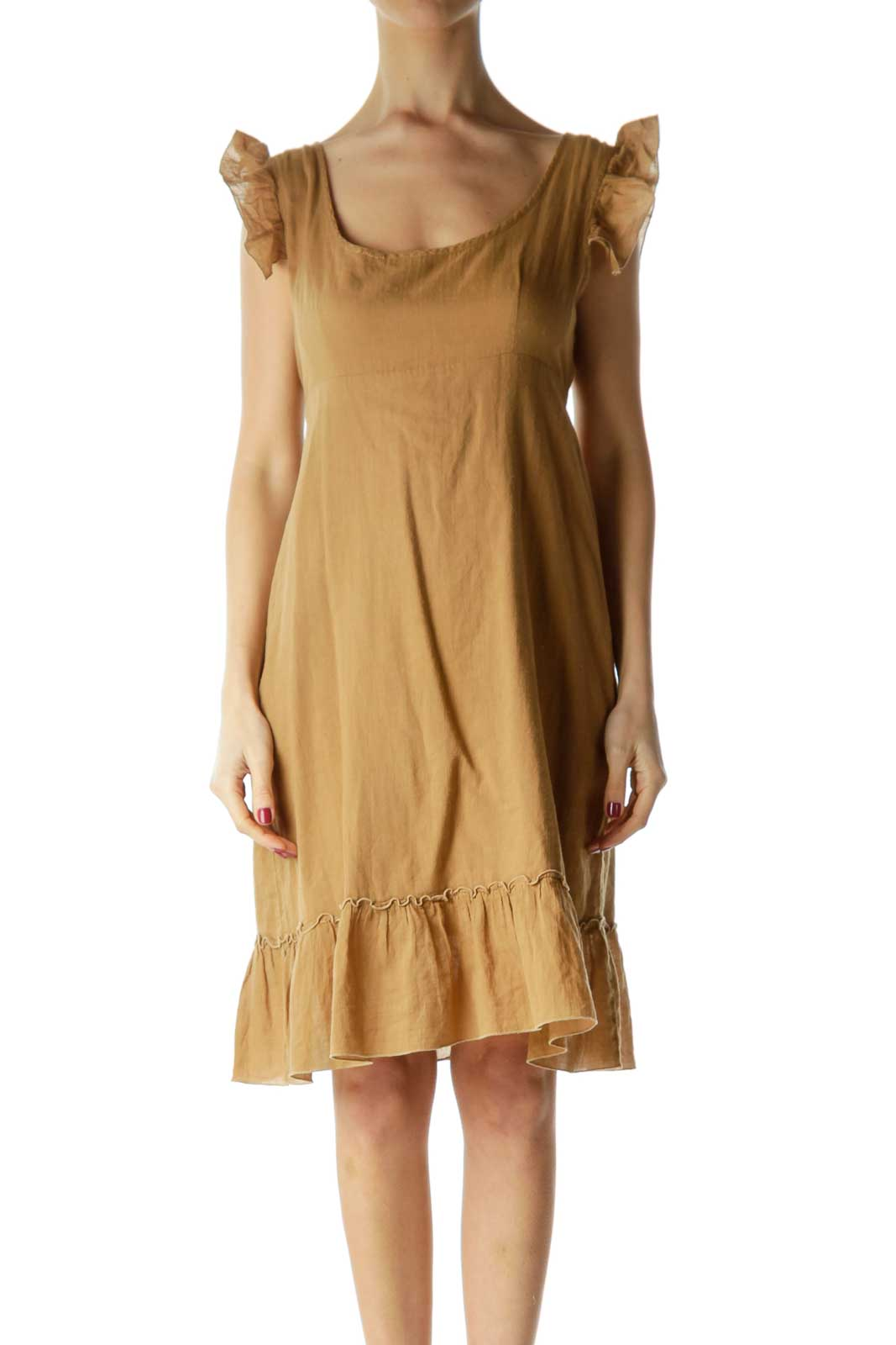 Brown Ruffled Cap Sleeve Day Dress Front