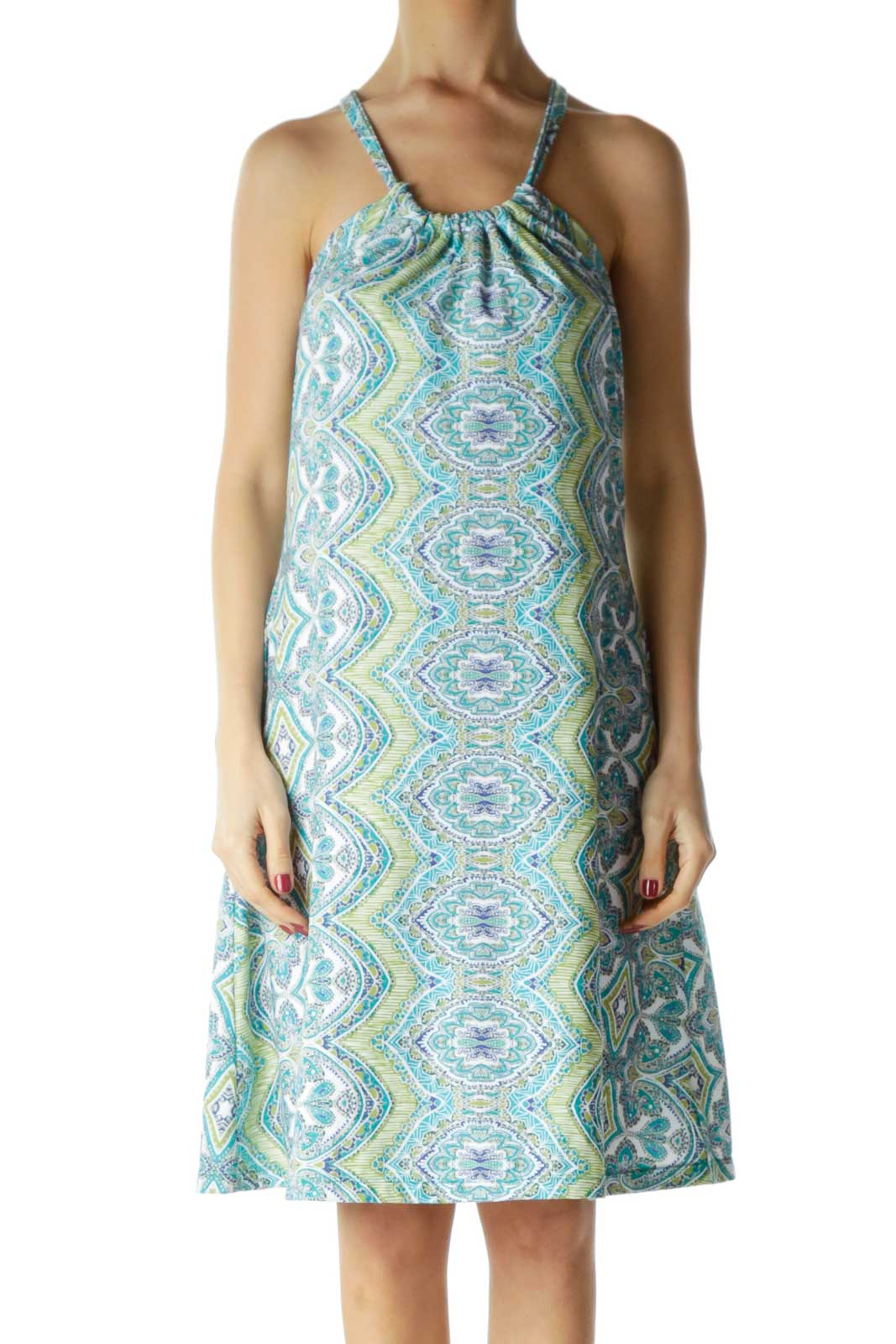 Blue Green Racerback Printed Day Dress Front