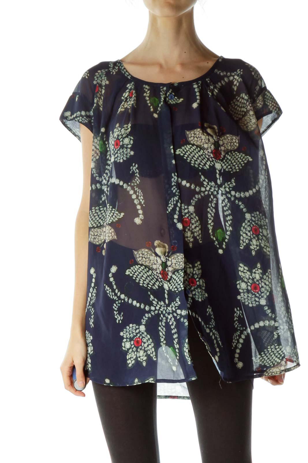Blue Jewel Flower Print See Through Blouse Front