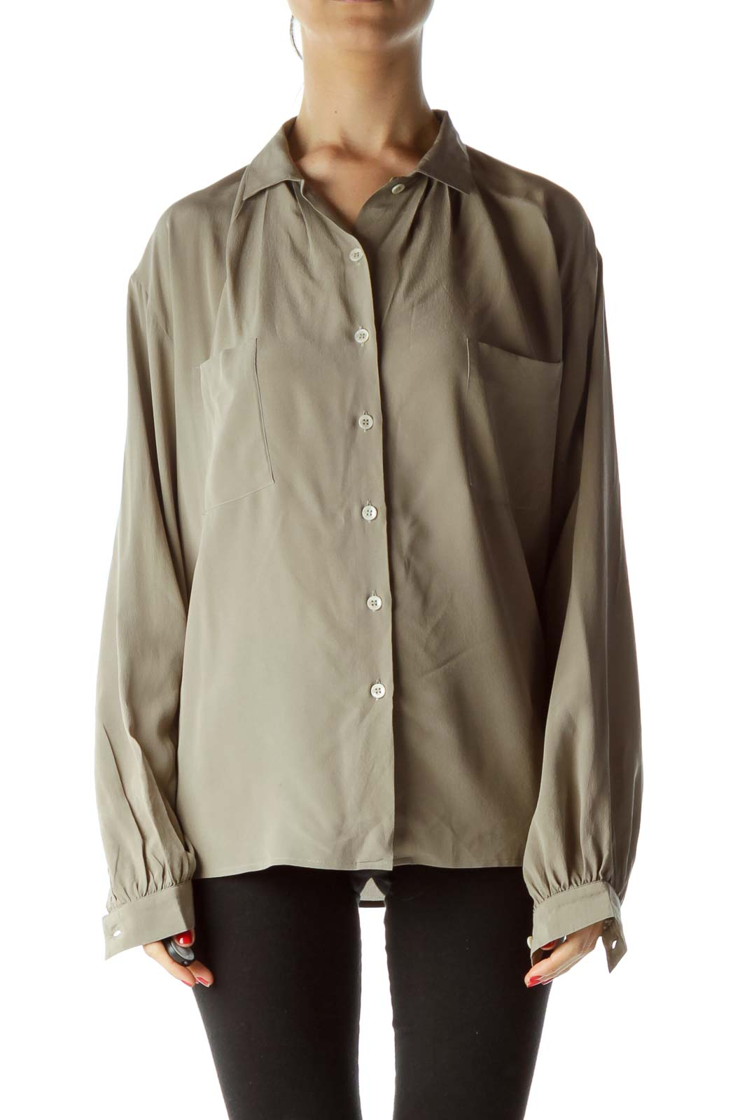 Gray 100% Silk Buttoned Shirt with Pockets Front
