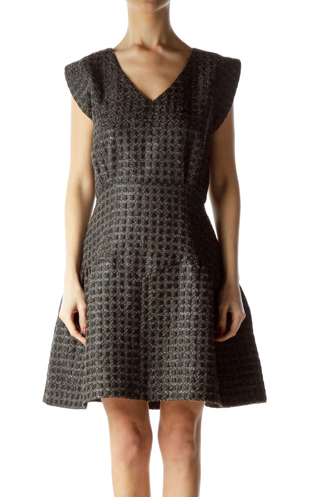 Black Tweed A-Line Dress Front