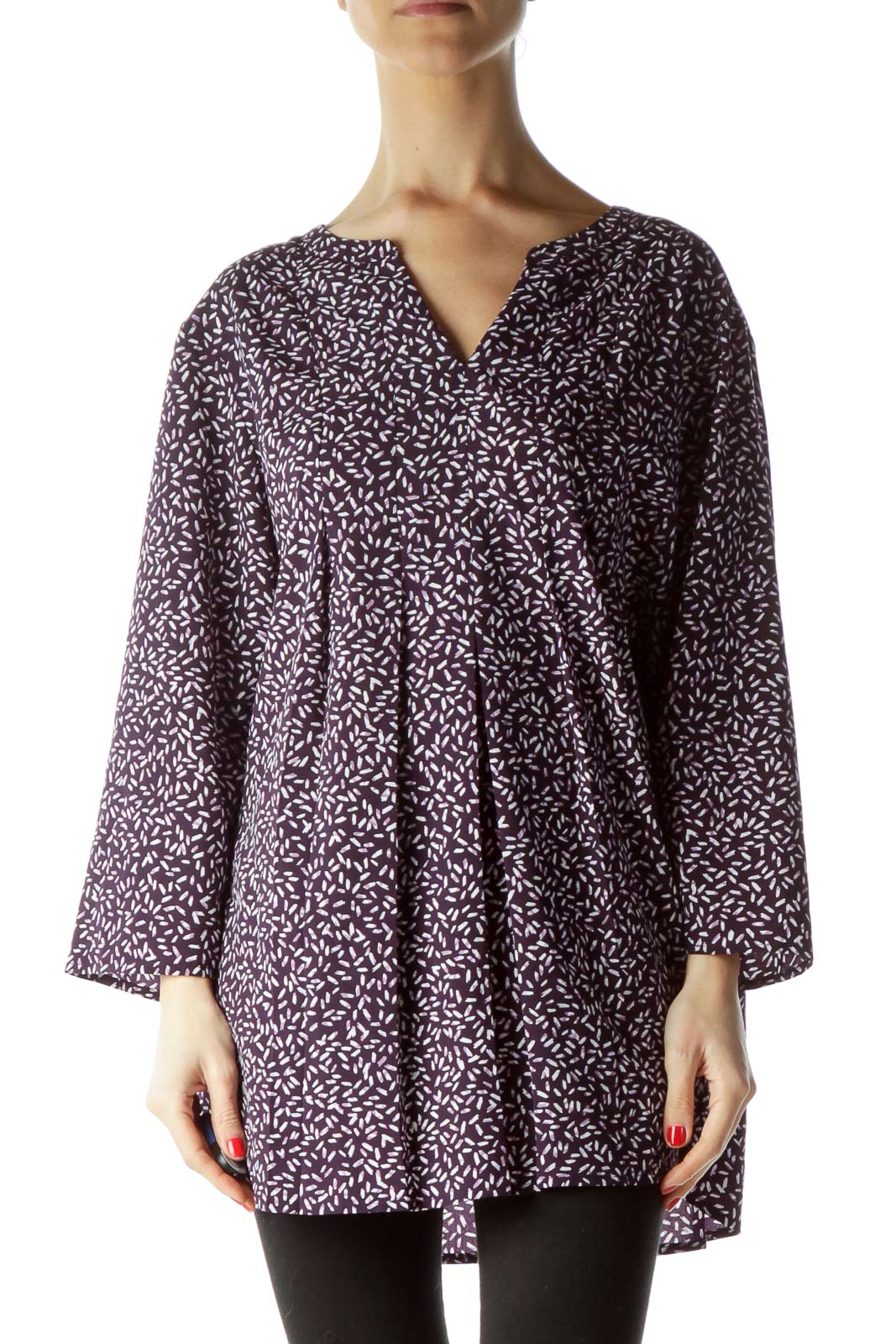 Purple Print 3/4 Sleeve Front Pleated Blouse Front