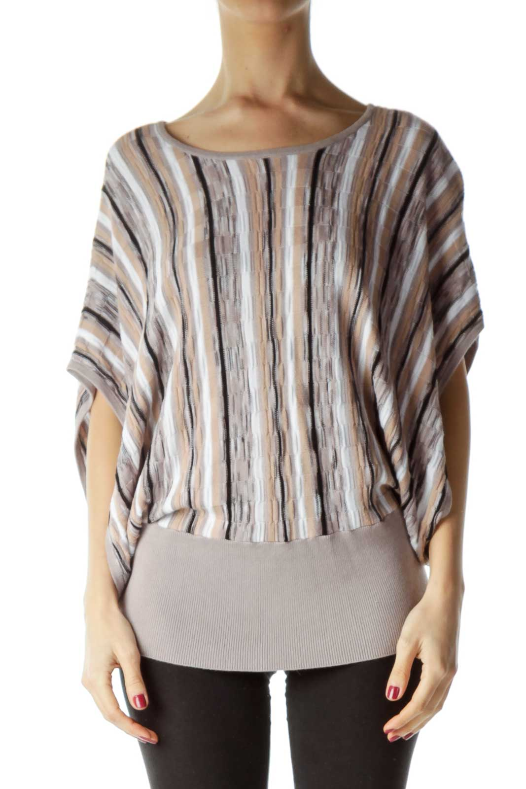 Beige White Striped Bat-Sleeve Knit Top Front