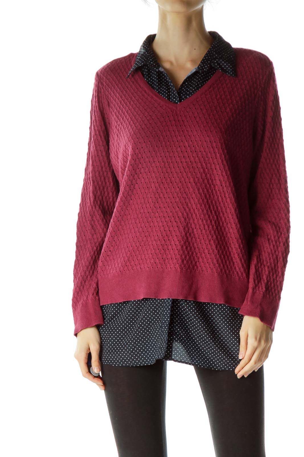 Burgundy and Polka Dot Knit Top Front