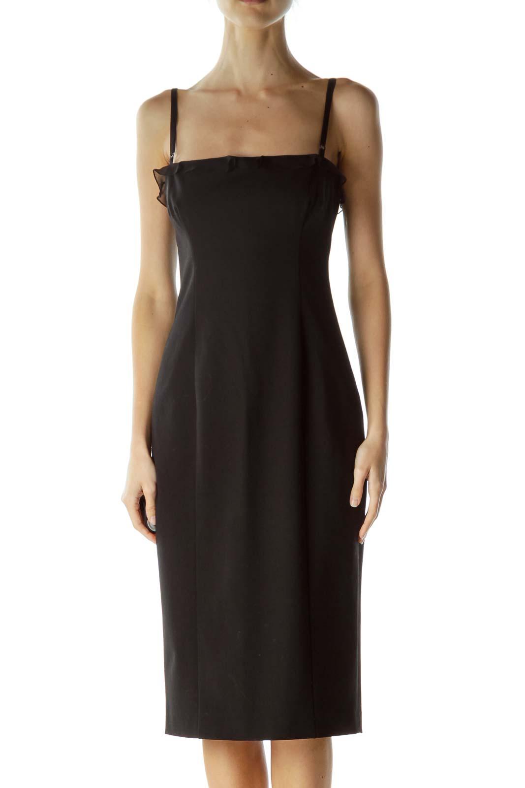 Black Spaghetti Strap Midi Cocktail Dress Front