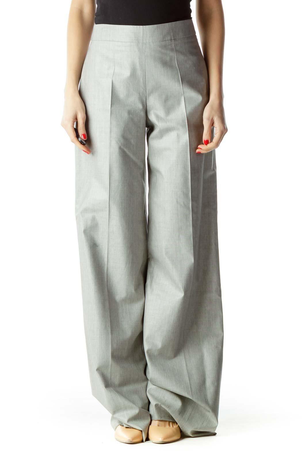 Gray High-Waisted Designer Dress Pants Front