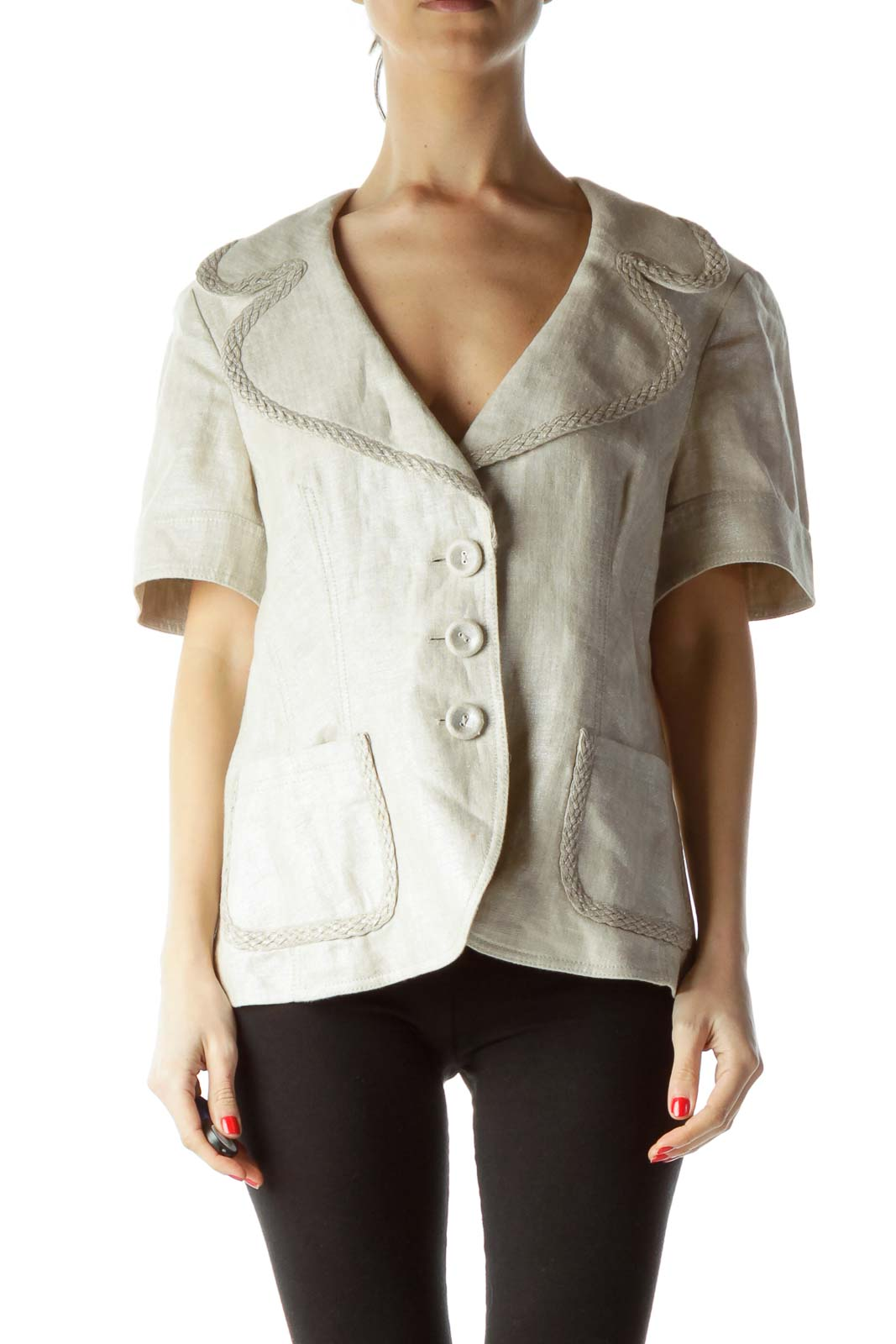 Cream Metallic 100% Linen Short Sleeve Blazer Front