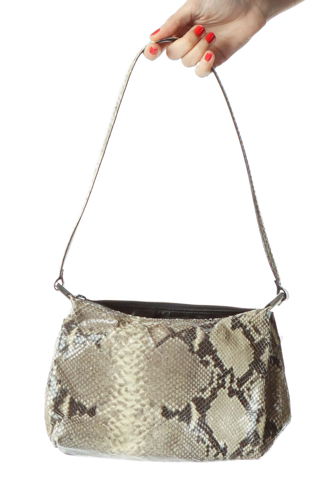 Green Black Faux Python Skin Shoulder Bag Front