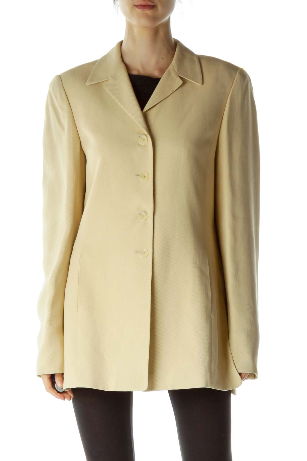 Beige Buttoned Long Blazer Front