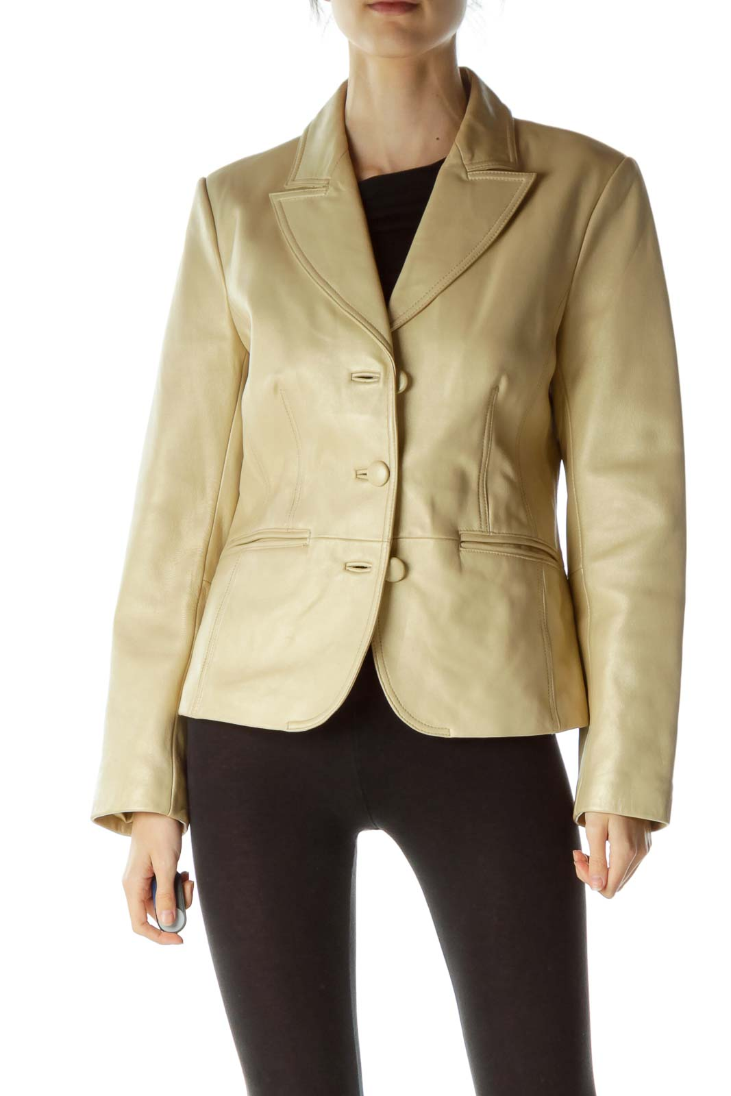 Beige Shiny Leather Jacket Front