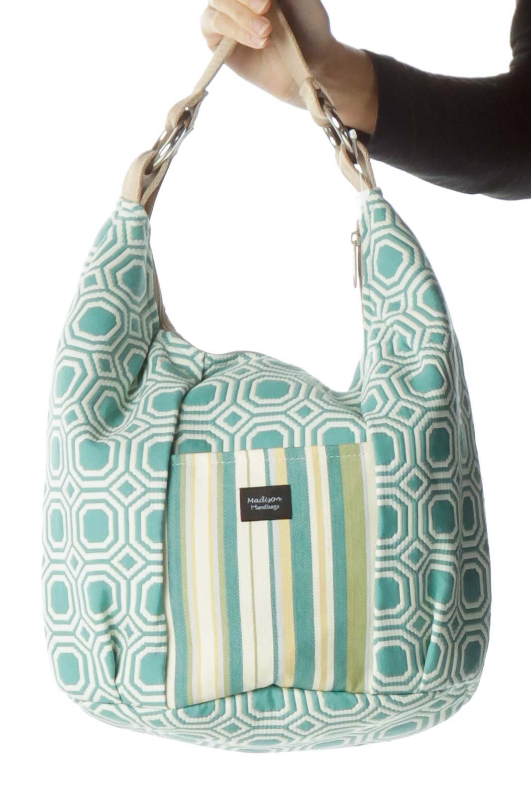 Blue Cream Multicolored Shoulder Bag Front