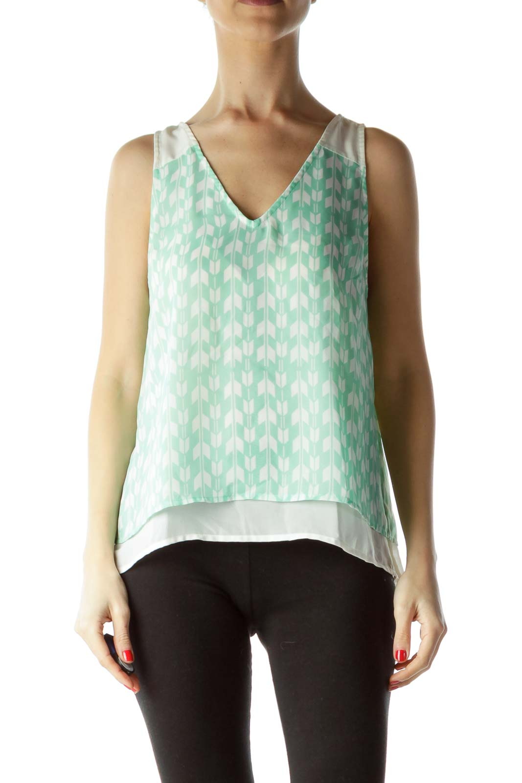 Green Cream Print Sleeveless Blouse Front