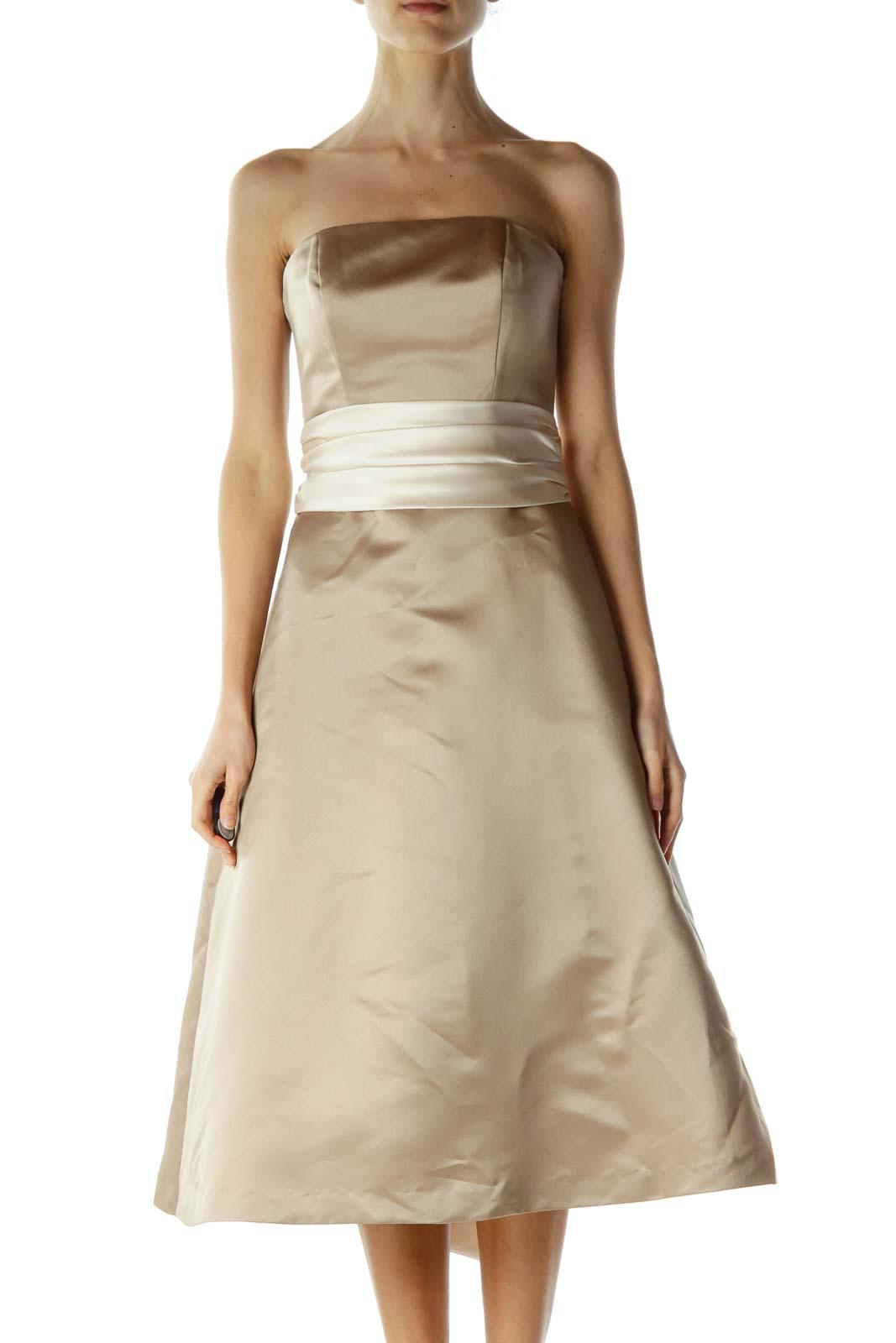 Beige Cream Ribbon Wrap Strapless Dress Front