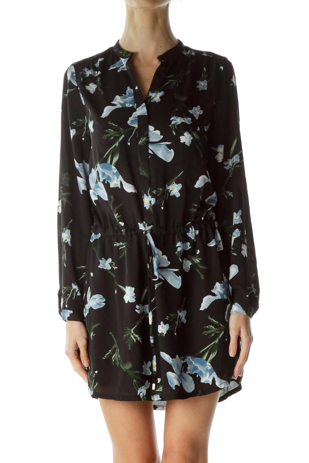 Black Floral Drawstring Day Dress Front