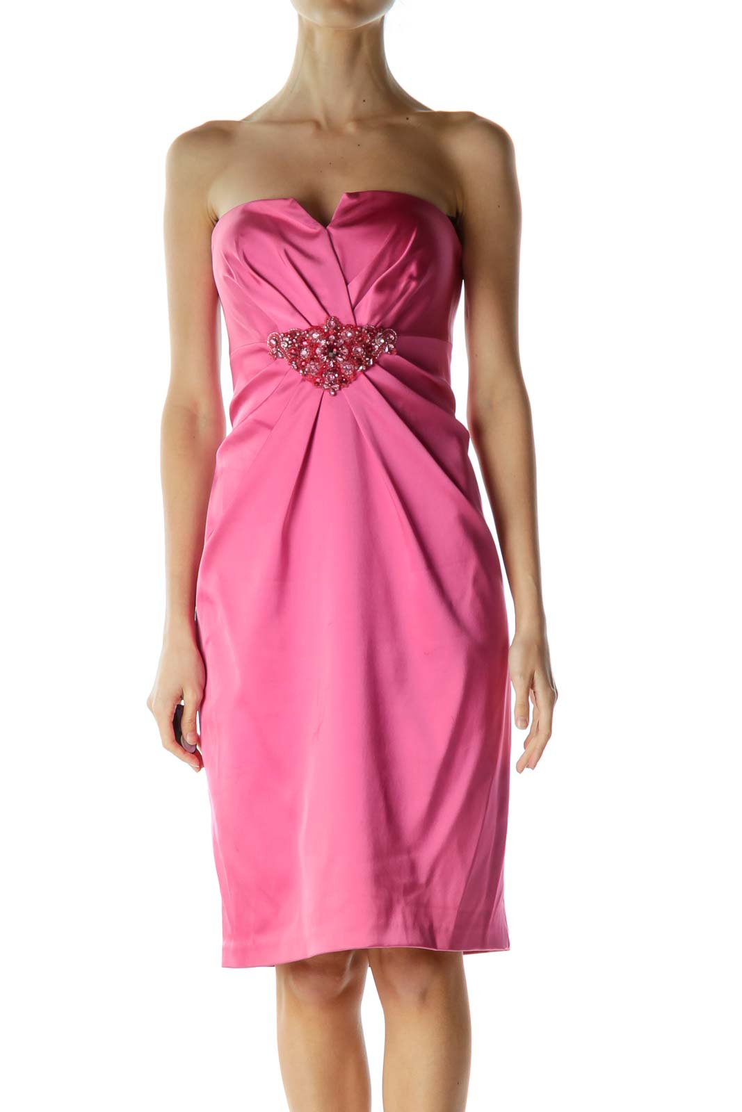 Pink Strapless Cocktail Dress with Beaded Detail Front