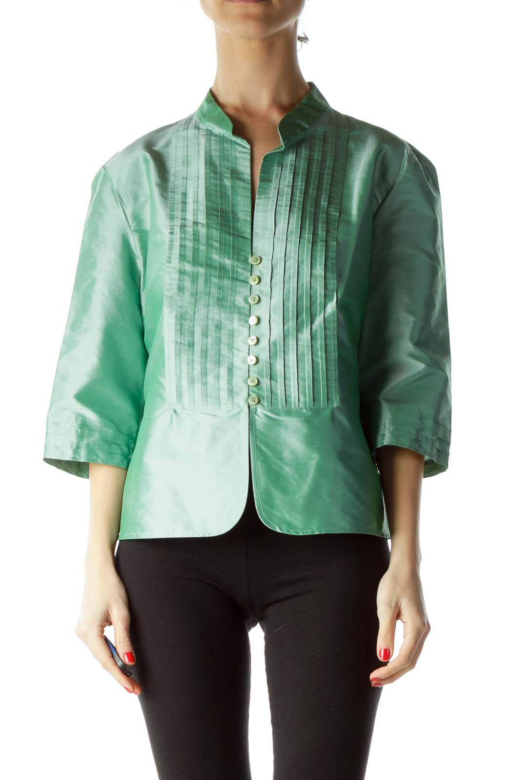 Green 100% Silk 3/4 Sleeve Pleated Blouse Front