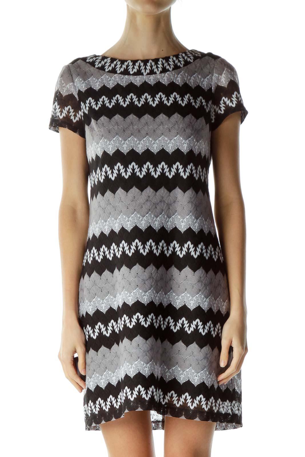 Black Gray Round Neck Zigzag Print Dress Front