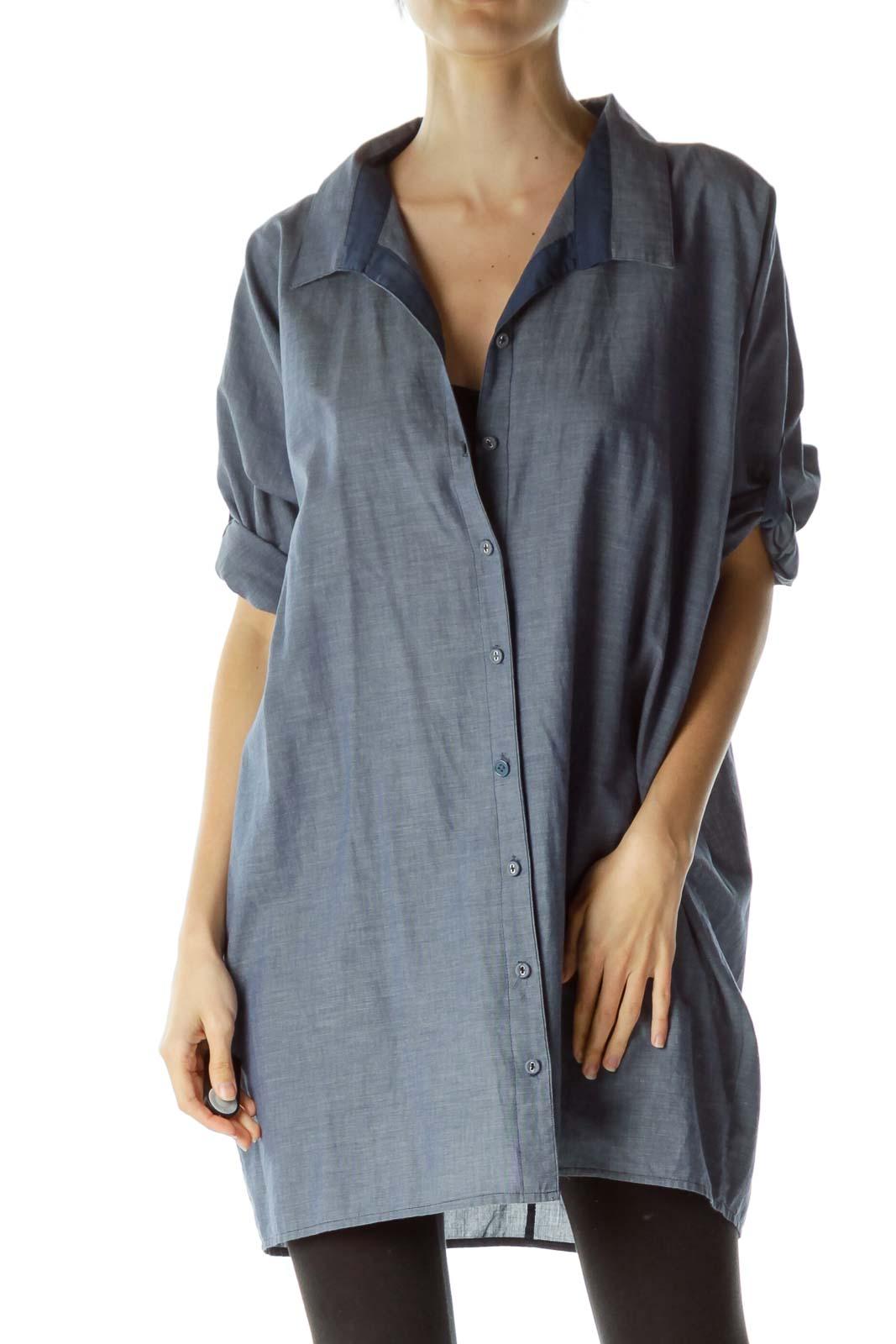 Blue 100% Cotton Buttoned Shirt Front