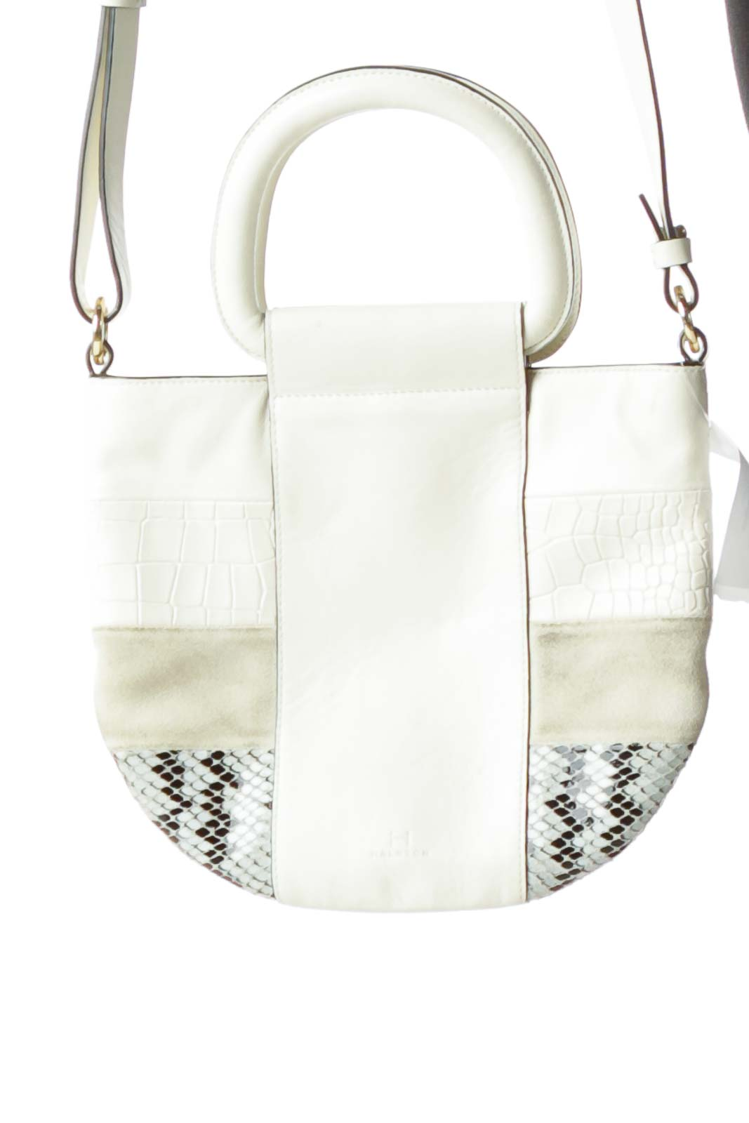 Cream Leather Suede Crossbody Bag Front
