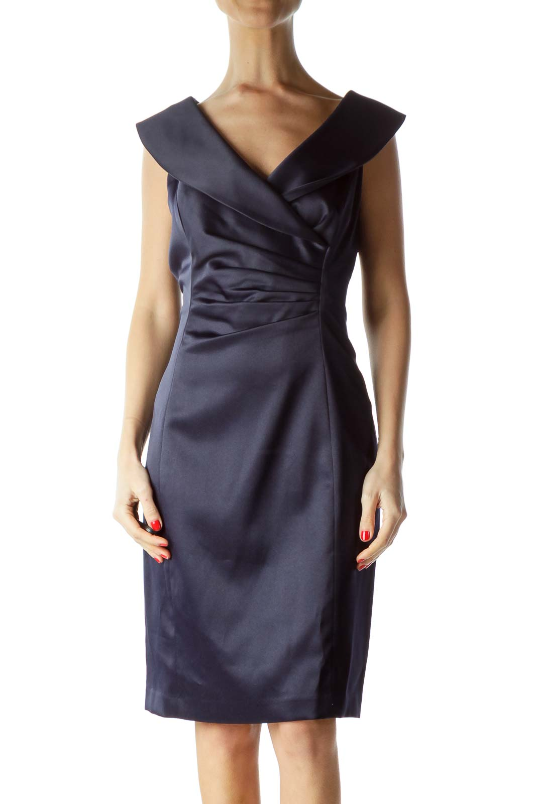 Navy Scrunched Collared Cocktail Dress Front