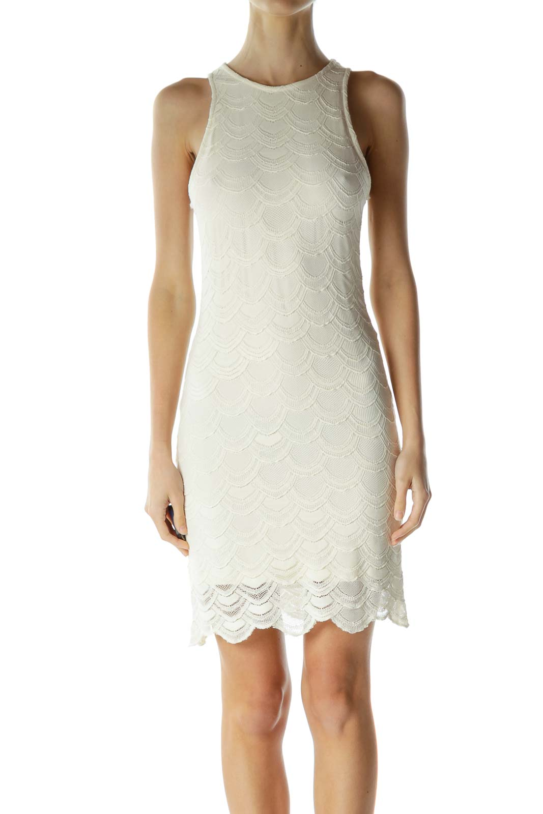 Cream Crocheted Scalloped Day Dress Front