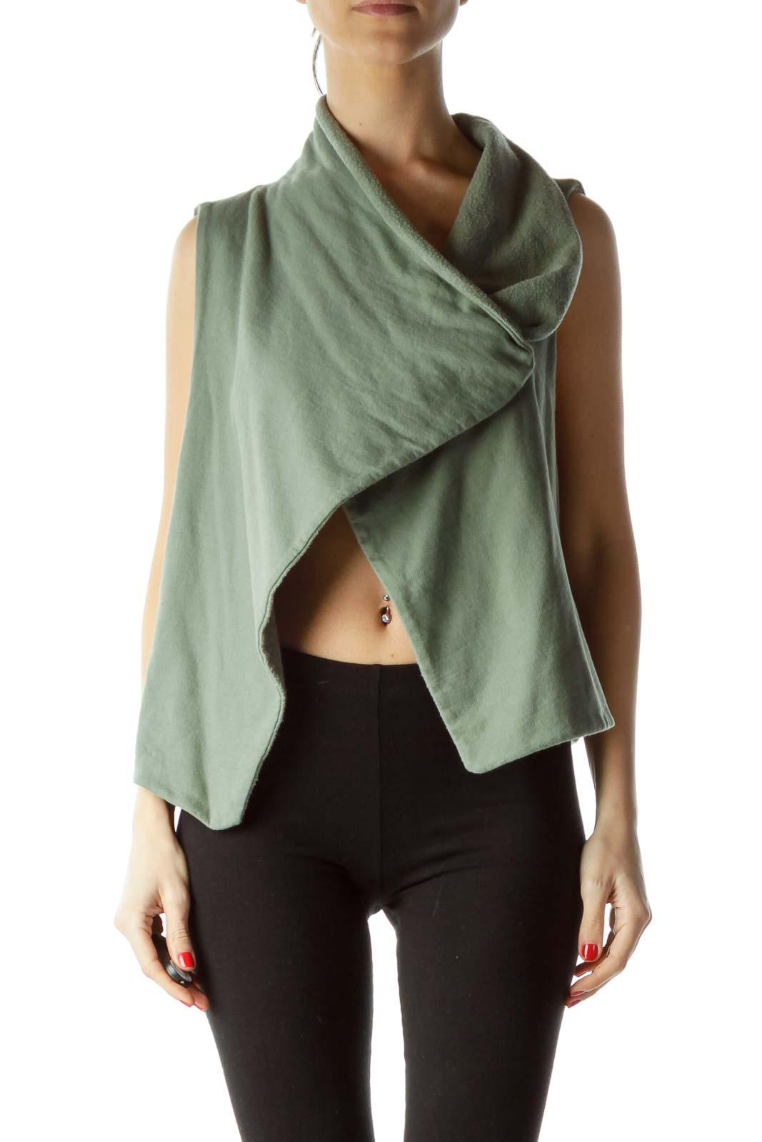Green Fleece Collared Vest Front