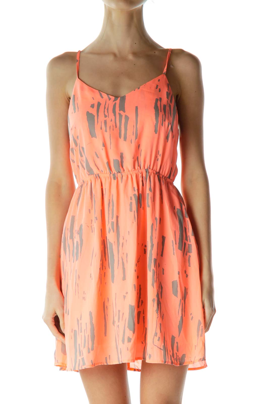 Orange Gray Printed Day Dress Front