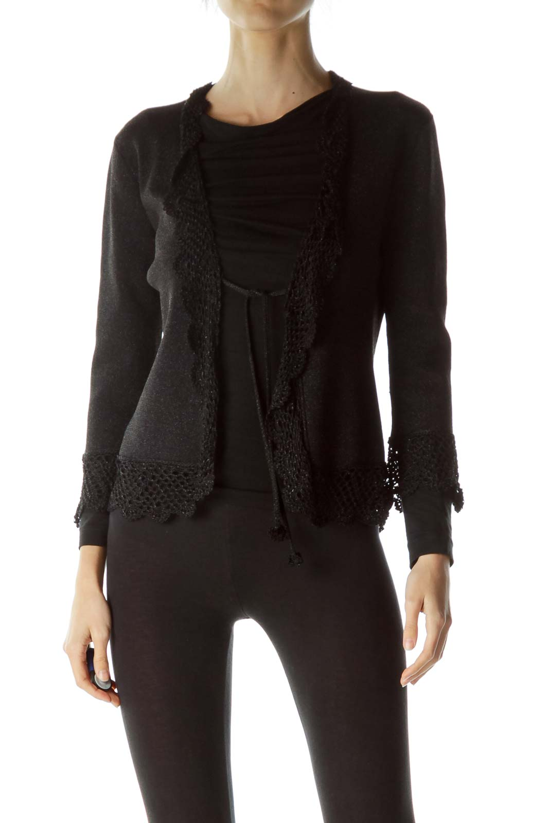 Black Metallic Knit Cardigan with Tassles Front