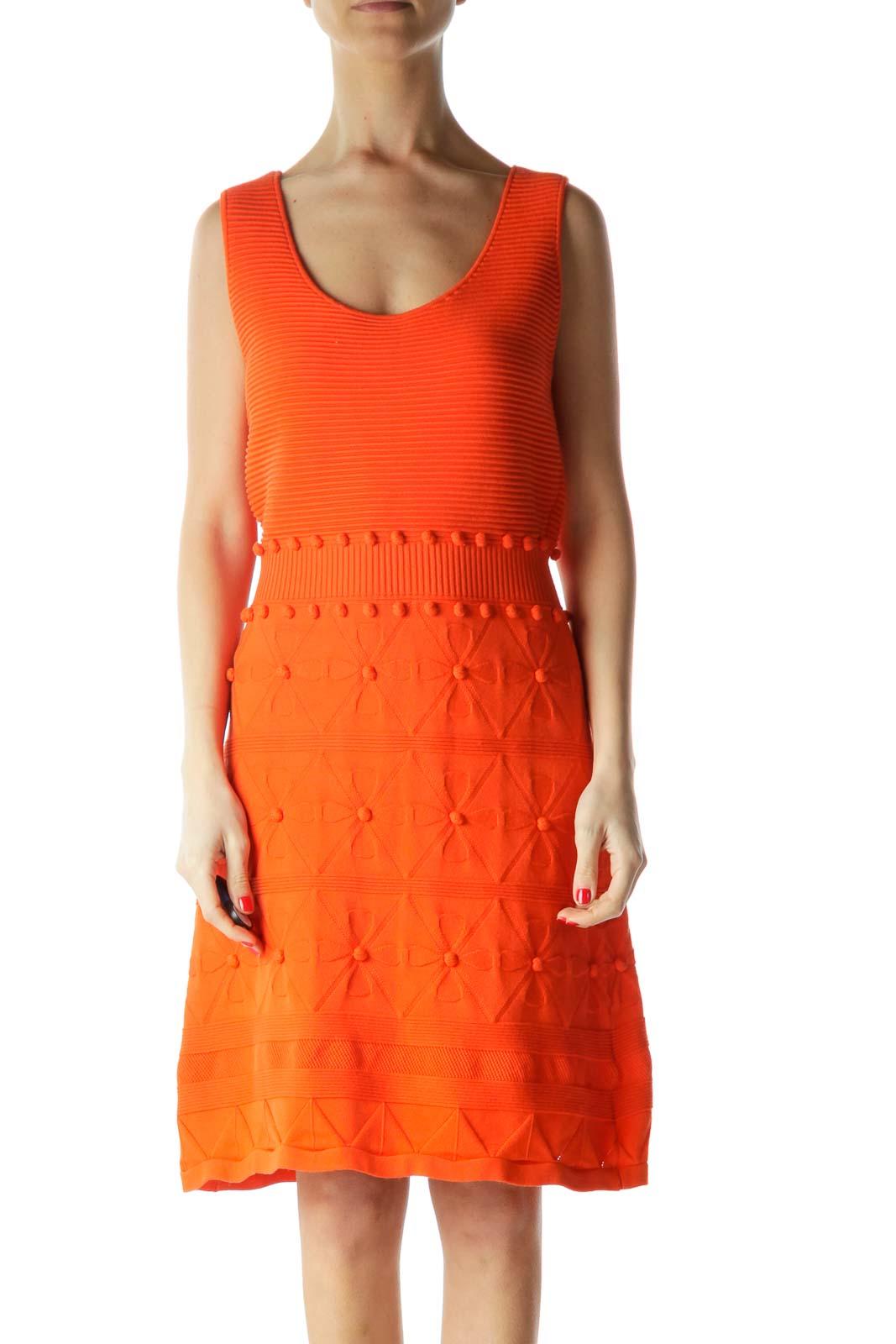 Orange Sleeveless Knit Dress Front