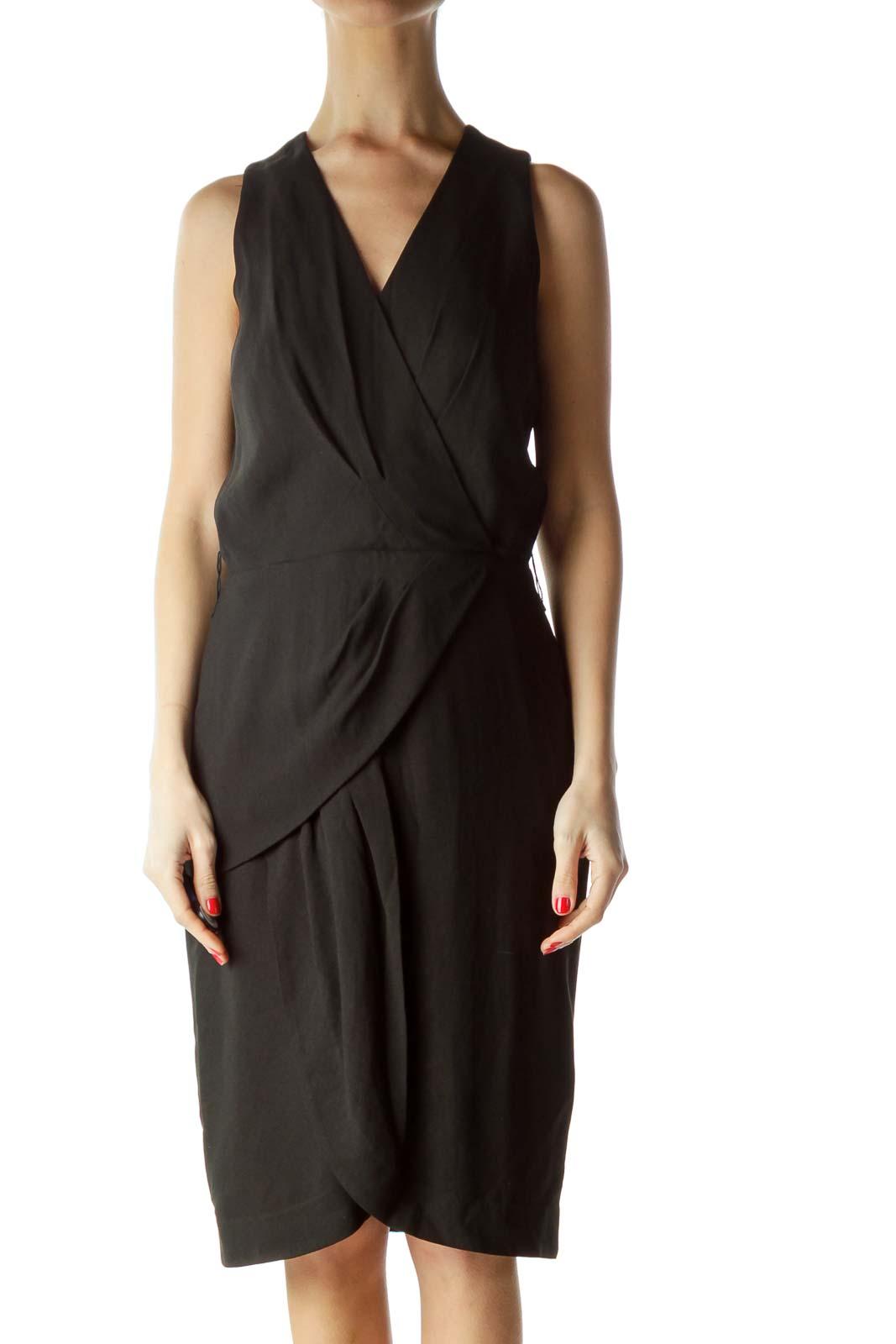 Black Layered V-Neck Work Dress Front