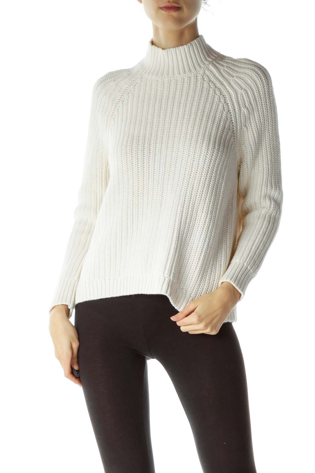 Cream 100% Cotton Open Back Sweater Front