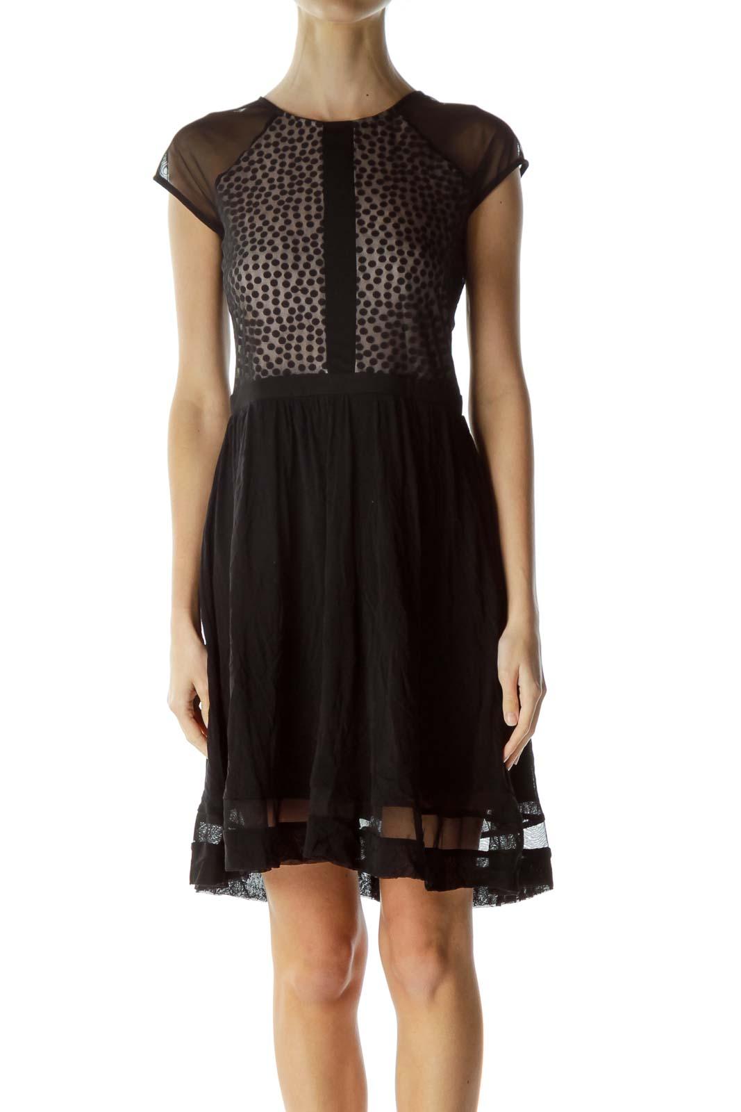 Black Beige Sheer Polka Dot Cocktail Dress Front